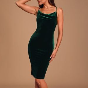Lulu's Jazzy Belle Dark Green Velvet Dress